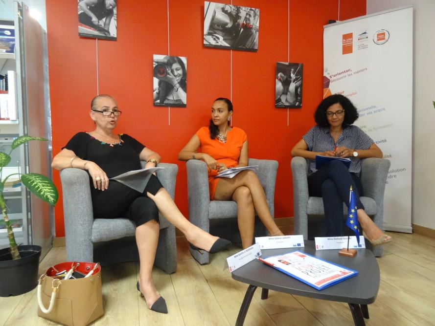 De gauche à droite : Danièle Le Normand, ex-présidente de la Cité des métiers de La Réunion, Valérie Landry, Directrice et Nathalie Bassire, Présidente de la Cité