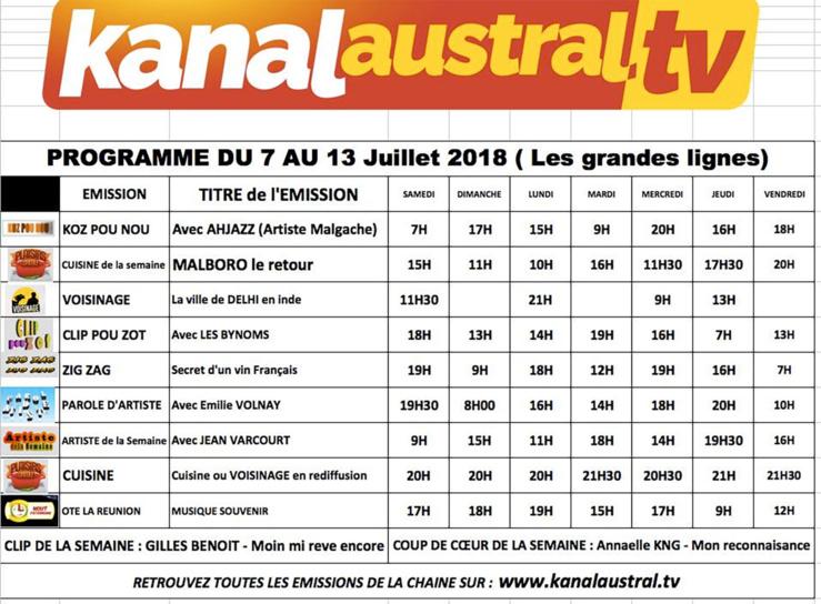 7 au 14 juillet - Programme télé KANAL AUSTRAL TV