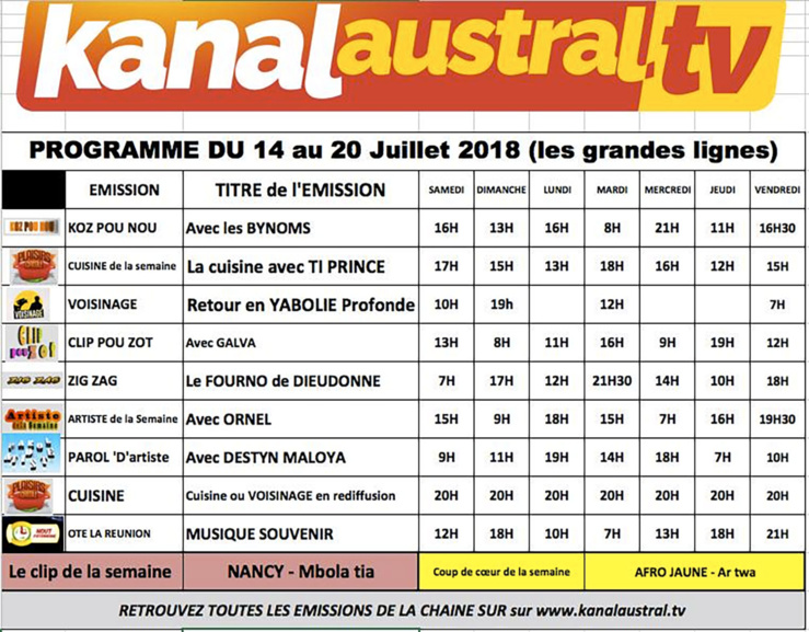 14 au 20 juillet - Programme télé KANAL AUSTRAL TV