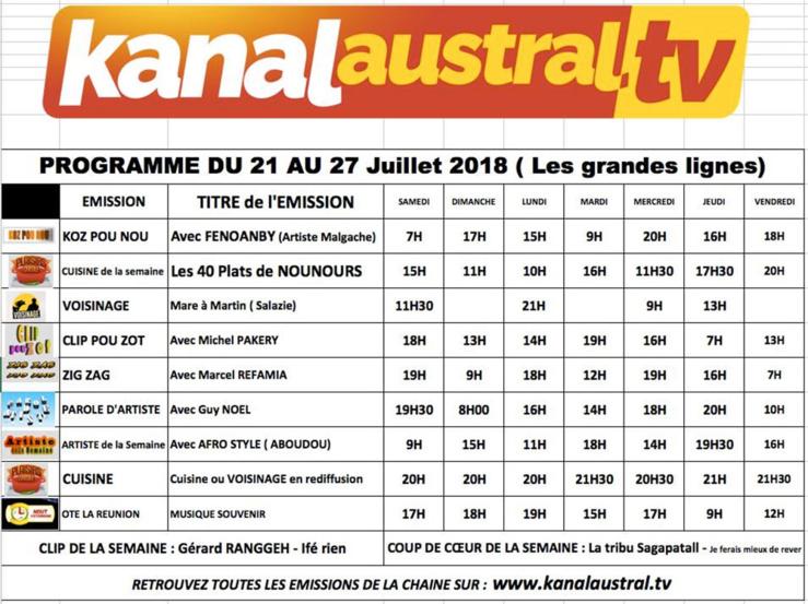 21 - 27 juillet programme KANAL AUSTRAL TV