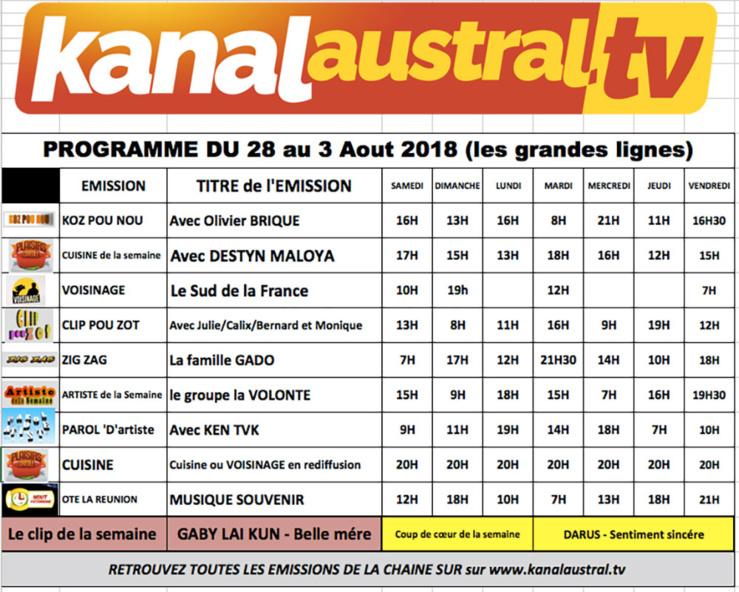 Programme télé KANAL AUSTRAL TV 28 JUILLET - 3 AOUT