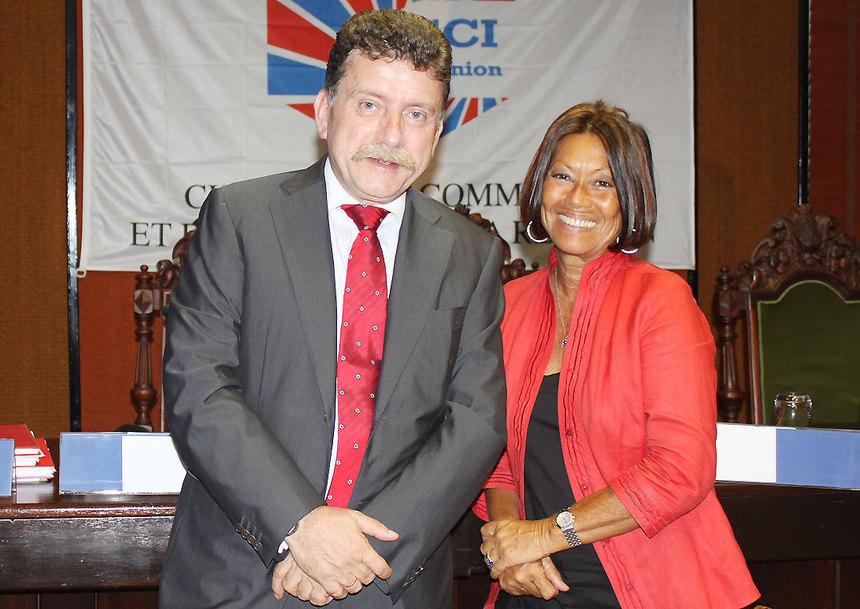 Michel Lalande, préfet de La Réunion, et Margie Sudre, présidente du Haut conseil de la commande publique