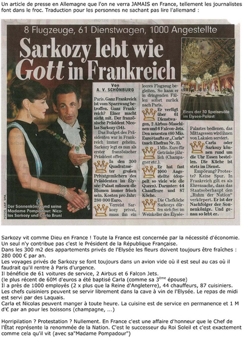 Sarkozy vit comme Dieu en France !