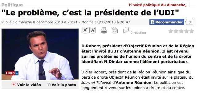 """Didier Robert : """"Le problème, c'est la présidente de l'UDI"""""""