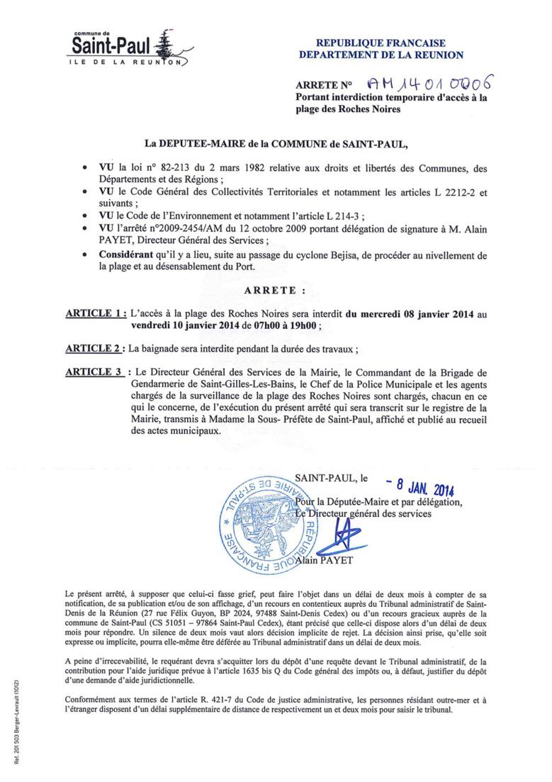 "La plage de ""Roches Noires"" interdite"