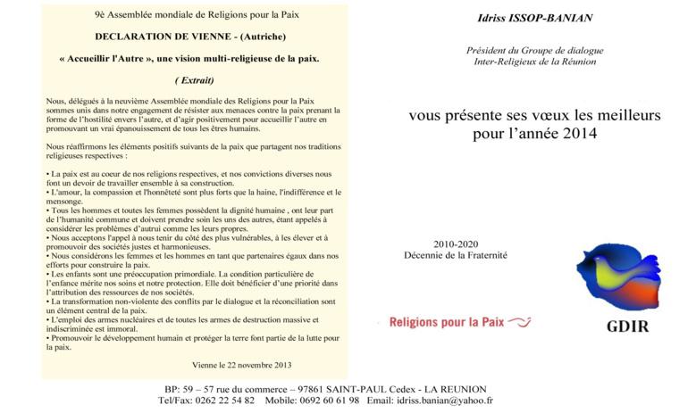 Les vœux du Groupe de Dialogue Inter Religieux de La Réunion