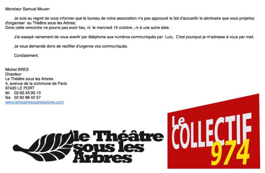 Les Indignés s'indignent contre Monsieur BRESSE Michel du théâtre sous les arbres