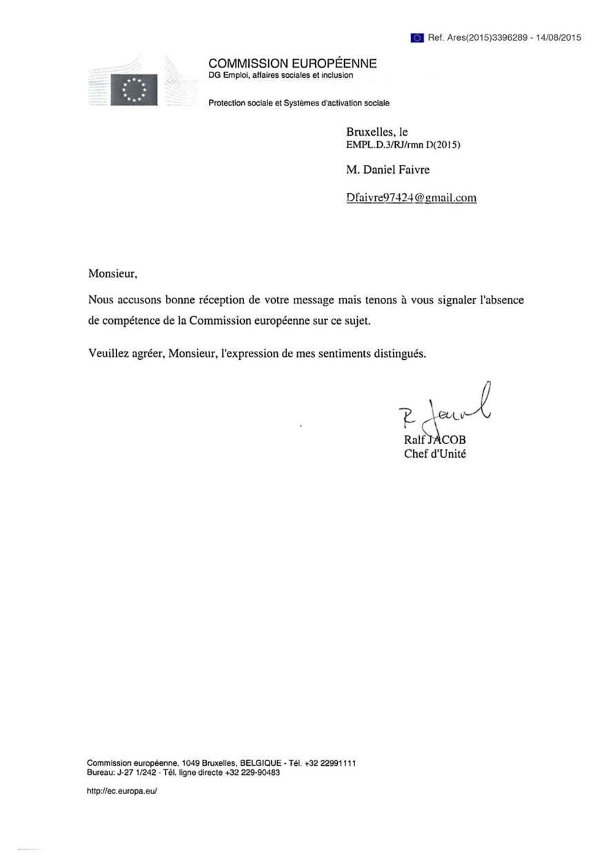 Daniel Faivre a reçu une réponse de la Commission Européenne