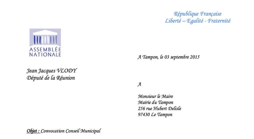 Jean-Jacques VLODY : N'est pas disponible pour le Conseil municipal du Tampon