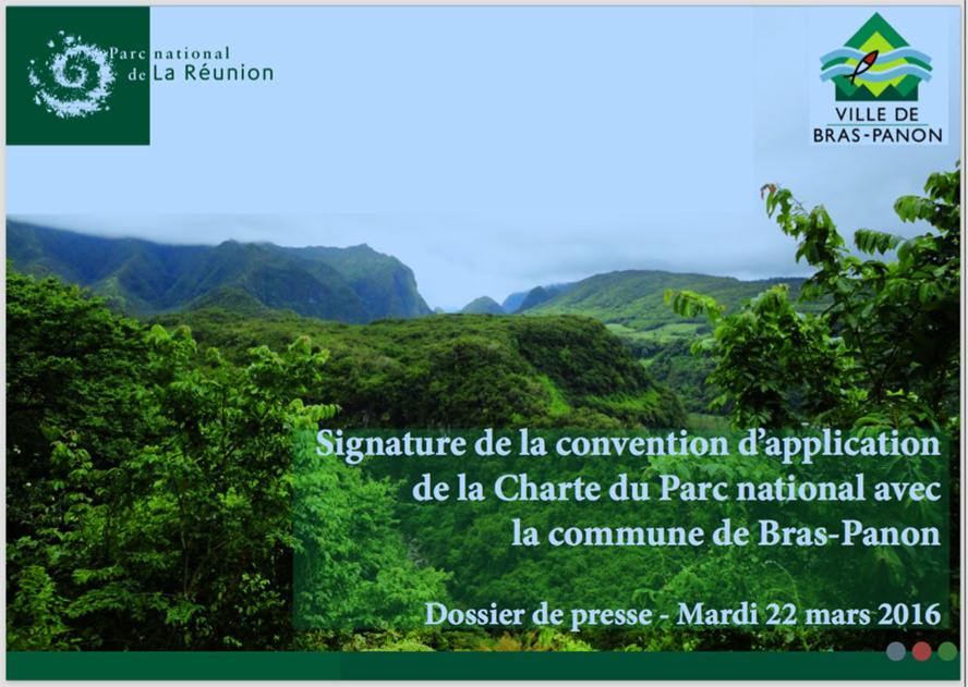Signature de la convention d'application de la Charte du Parc national avec la commune de Bras-Panon