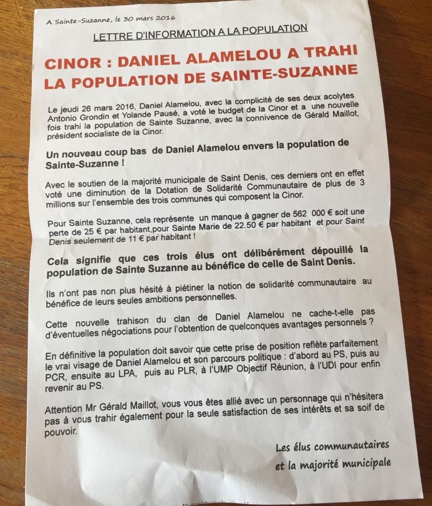 Des élus Sainte Suzanne dénoncent le nouveau coup bas de Daniel ALAMÉLOU