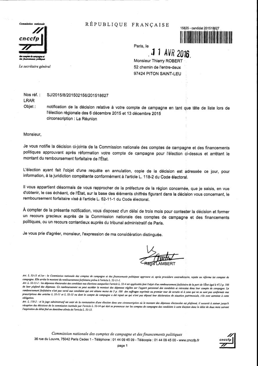 Approbation des comptes de campagne de Thierry ROBERT