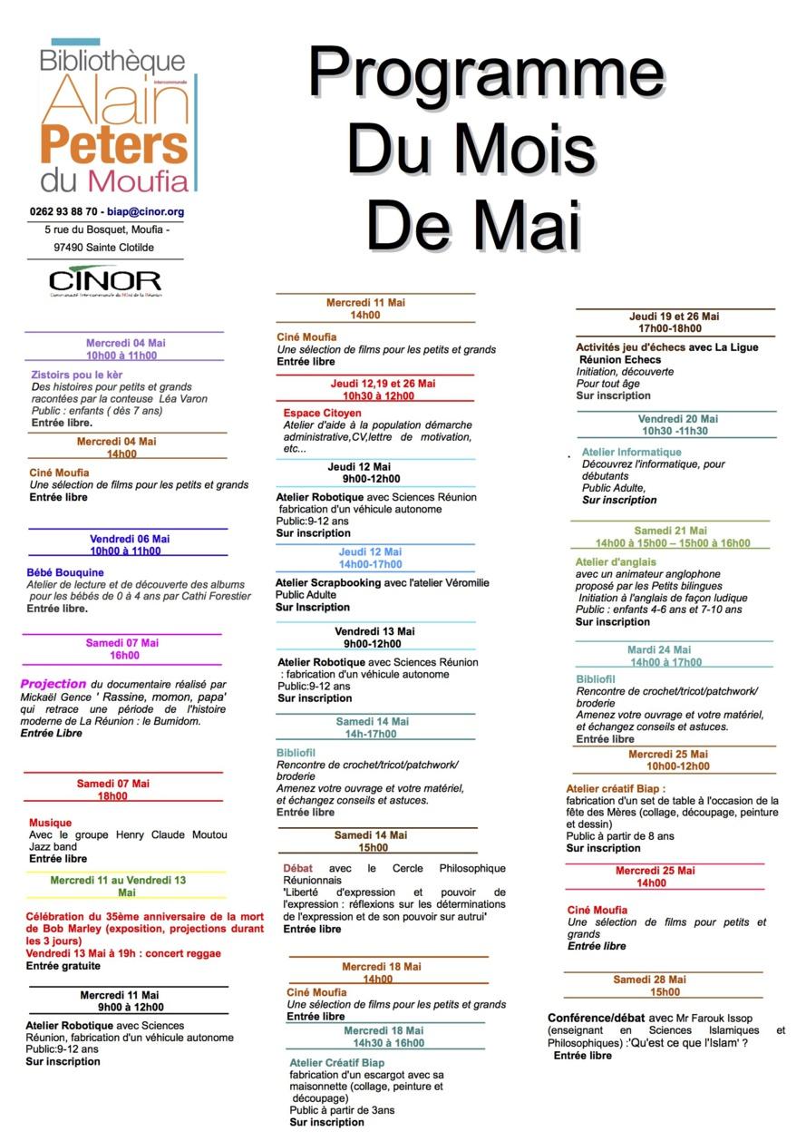 Bibliothèque Alain PETERS : Le Programme