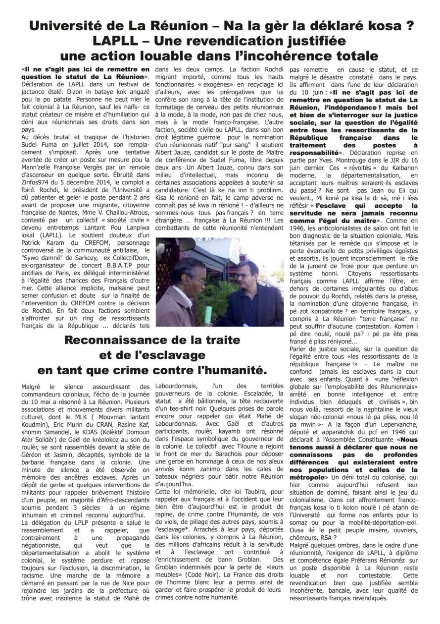 Université de La Réunion : La gèr lé déklaré kosa ?
