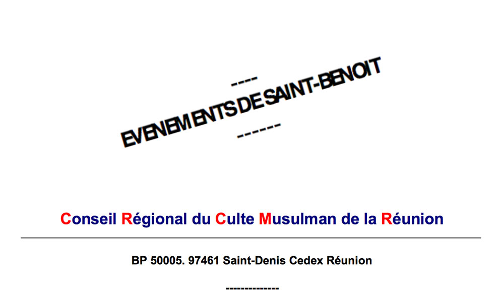 ​EVENEMENTS DE SAINT-BENOIT