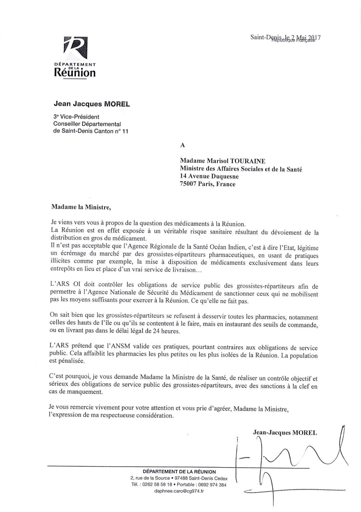 Jean-Jacques MOREL À Marisol TOURAINE