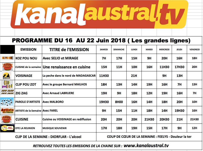 16 - 22 juin - Programme télé KANAL AUSTRAL TV