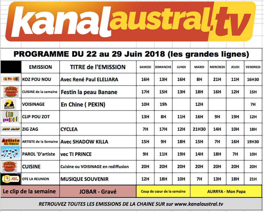 22 - 29 juin - Programme télé KANAL AUSTRAL TV