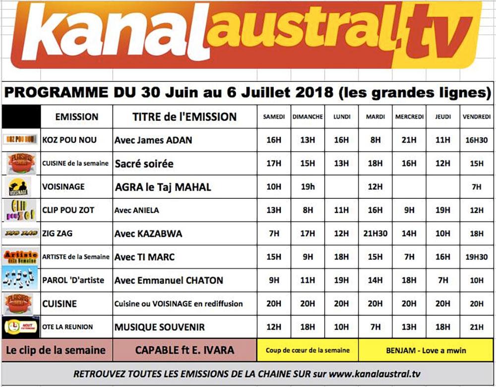 30 juin 6 juillet - Programme télé KANAL AUSTRAL TV