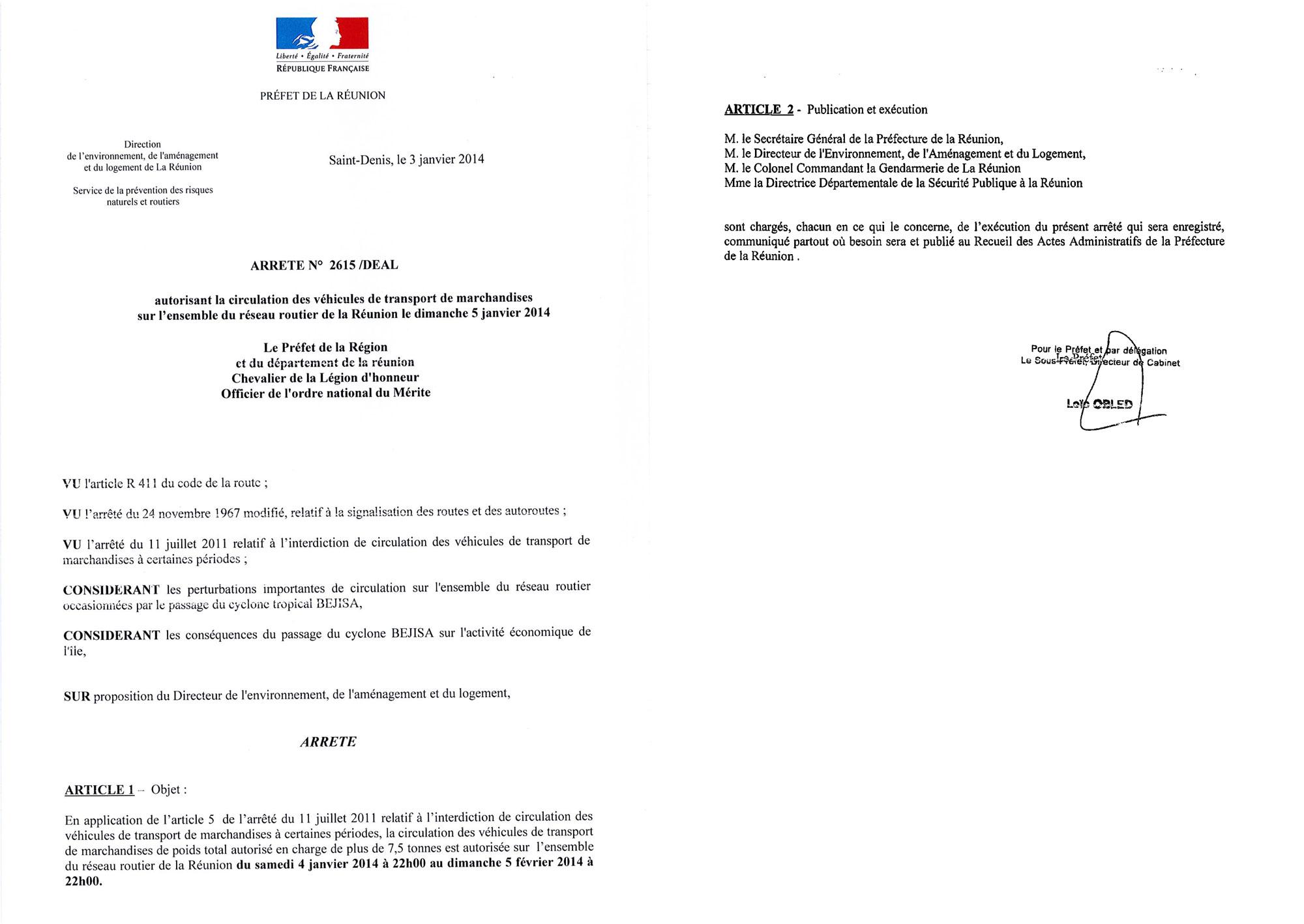 Arrêté préfectoral autorisant la circulation des véhicules de transport de marchandises sur l'ensemble du réseau routier de La Réunion le dimanche 5 janvier 2014