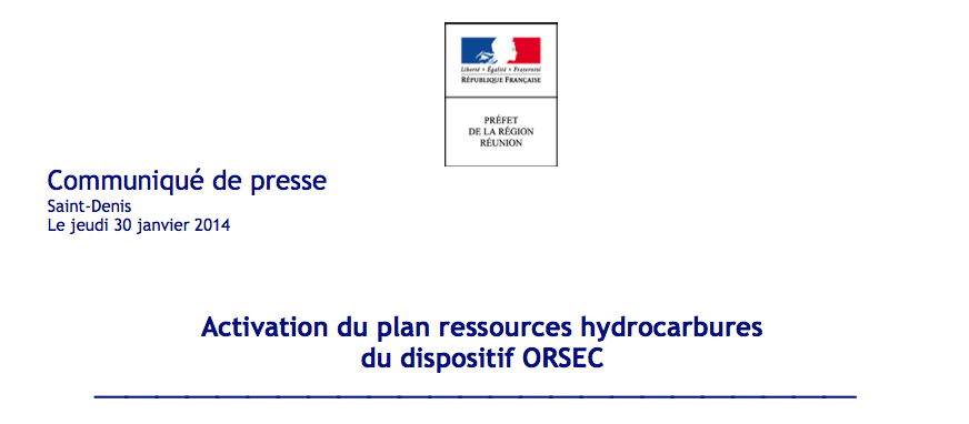 Préfecture : Activation du plan ressources hydrocarbures du dispositif ORSEC