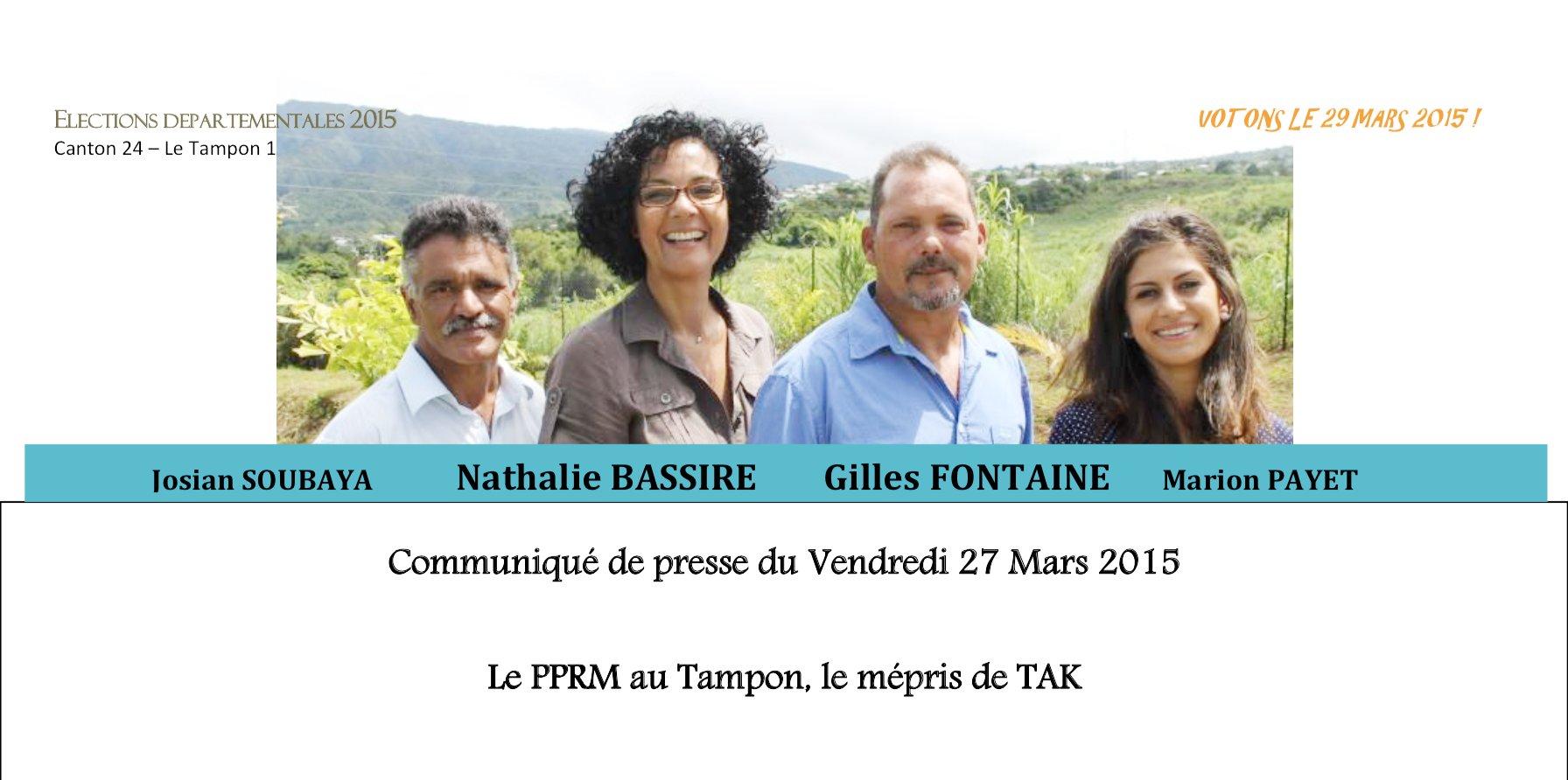 Nathalie BASSIRE : Le PPRM au Tampon, le mépris de TAK