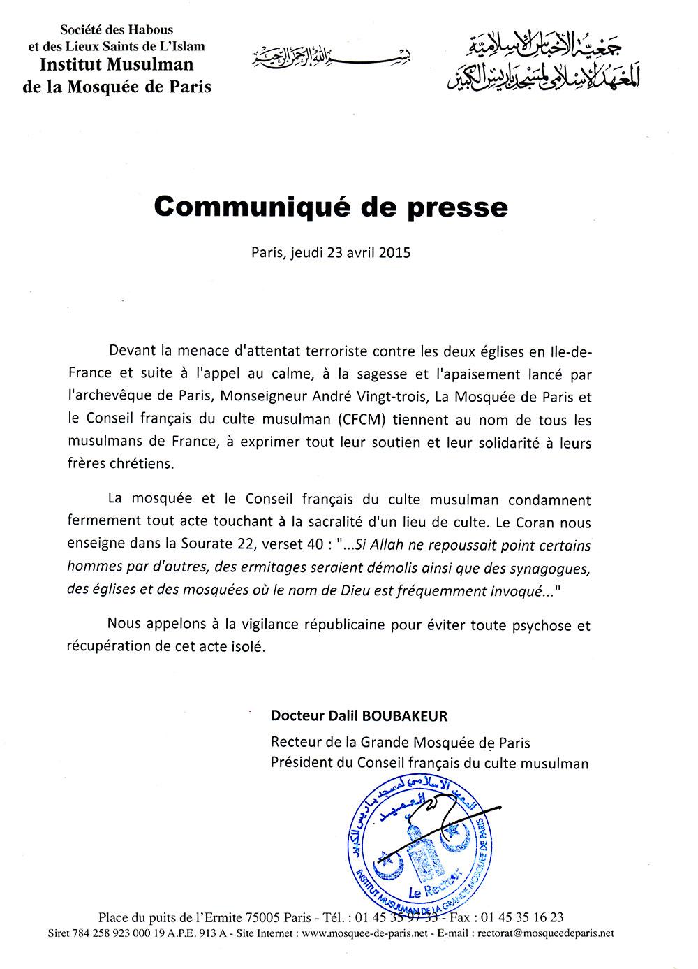 Réaction du Conseil Français du Culte Musulman, suite à la menace d'attentat terroriste contre des Eglises en métropole.