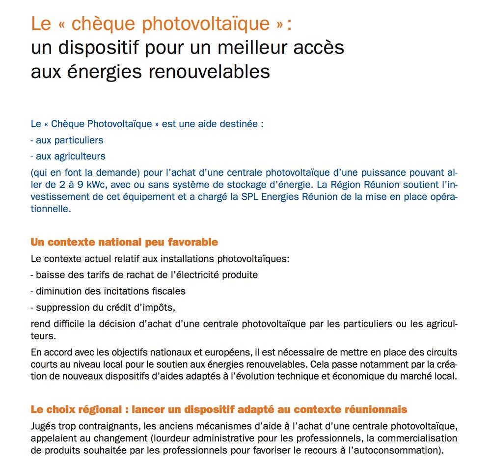 Le « chèque photovoltaïque »