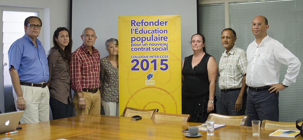 Jean-Claude Lacouture, Maire et Conseiller Général de L'Etang-Salé, Roger Ramchetty, président du CCEE, Valérie Bénard, vice-présidente de la Région Réunion et Gisèle Surjus, Conseilère au CCEE.
