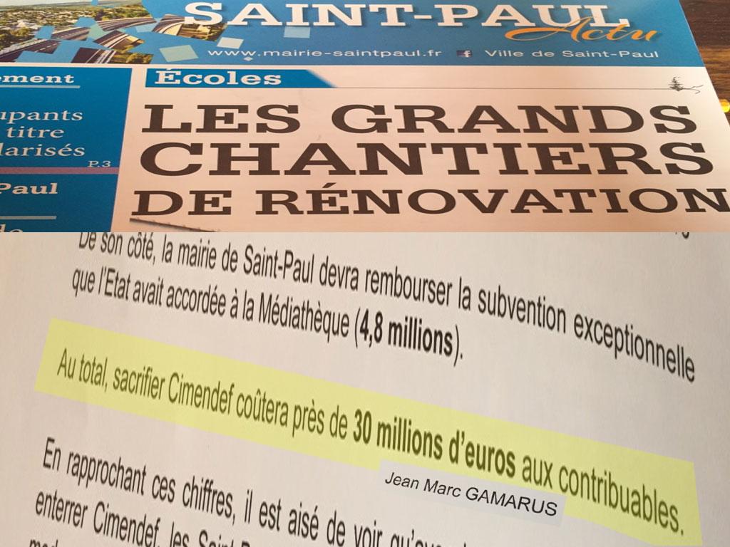Saint-Paul : 30 Millions de plus au compte de l'équipe sortie de la mairie par Joseph Sinimalé