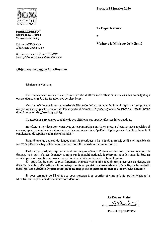 La Dengue à La Réunion : Patrick LEBRETON écrit à la Ministre et le fait savoir