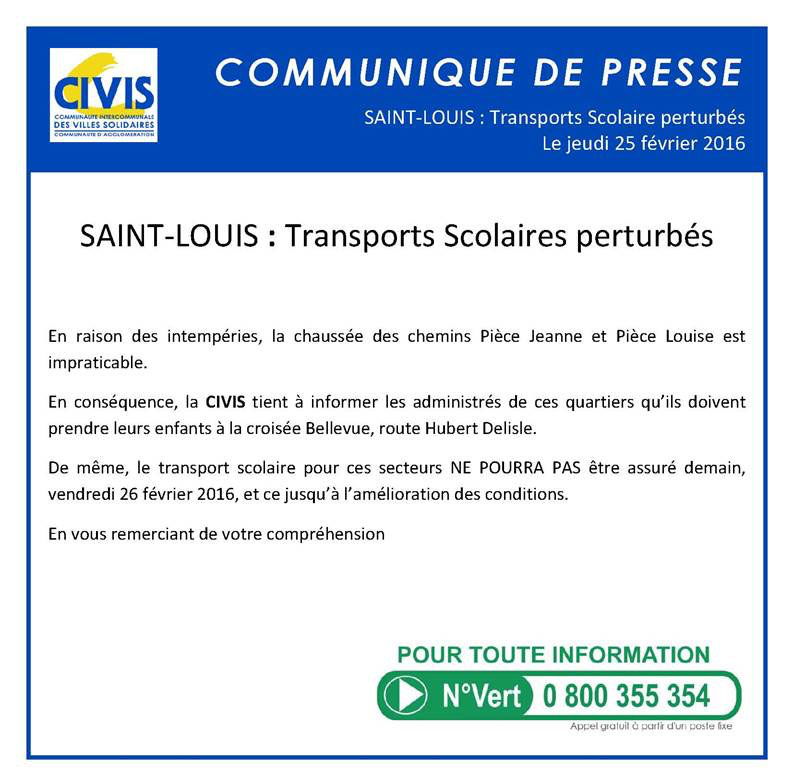 SAINT-LOUIS : Perturbations du transport scolaire