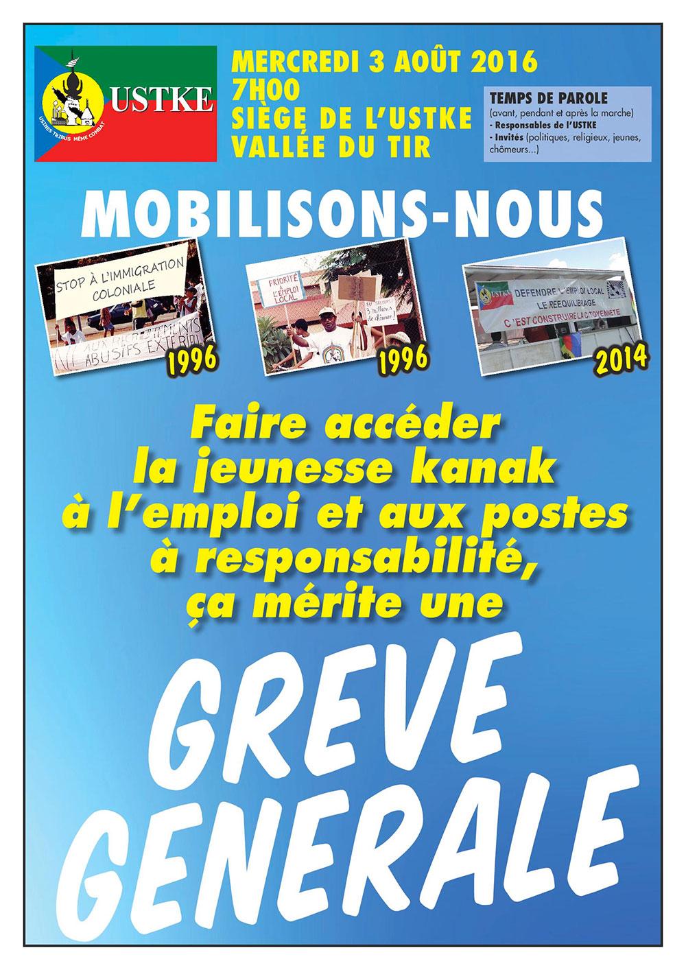 L'USTKE  appelle à la grève générale ce mercredi 3 aout 2016