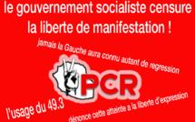 Le gouvernement socialiste censure la liberté de manifestation